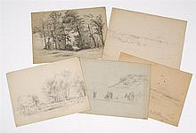 BENJAMIN CHAMPNEY, American, 1817-1907, Five views of Conway, New Hampshire., Pencils on paper. Unframed.