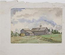 ANNIE S. JOHNSON, American, 1853/54-1937, New England barn., Watercolor on paper, 7
