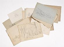 BENJAMIN CHAMPNEY, American, 1817-1907, Fifteen pencil sketches., Pencils on paper, sizes vary. Unframed.