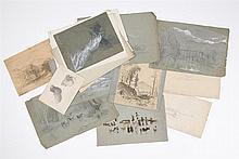 BENJAMIN CHAMPNEY, American, 1817-1907, Twenty-five assorted sketches., Sizes vary. Unframed.