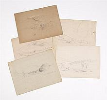 BENJAMIN CHAMPNEY, American, 1817-1907, Five sketches of Mount Jefferson, New Hampshire., Pencils on paper. Unframed.