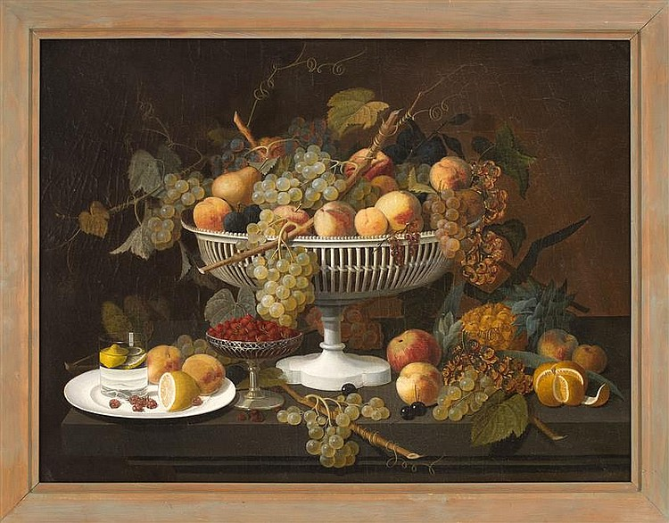 ATTRIBUTED TO SEVERIN ROESEN, American/German, 1815-1872, Opulent still life of a white compote overflowing with fruit., Oil on canv...