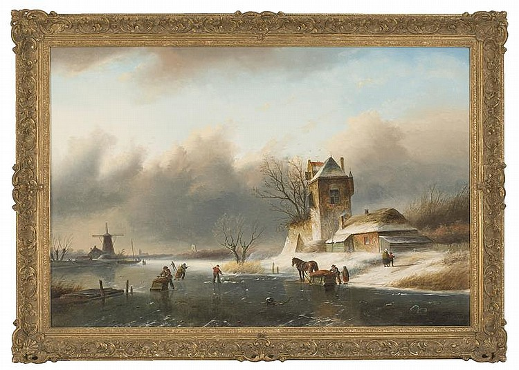 JAN JACOB COENRAAD SPOHLER, Dutch, 1837-1923, Figures skating., Oil on canvas, 25.5