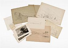 BENJAMIN CHAMPNEY, American, 1817-1907, Seven sketches and two engravings., Pencils on paper. Unframed.