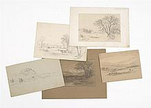 BENJAMIN CHAMPNEY, American, 1817-1907, Five sketches., Pencils on paper, largest 5.25