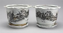 PAIR OF CHINESE PORCELAIN JARDINIÈRES With undertrays. Decorated with a black and sepia scene of a riverbank. Height 9