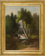 ATTRIBUTED TO BENJAMIN CHAMPNEY, American, 1817-1907, Artist brook., Oil on canvas, 20