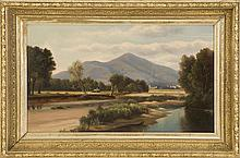 ATTRIBUTED TO BENJAMIN CHAMPNEY, American, 1817-1907, Haying along the Saco overlooking Mt. Kearsarge., Oil on board, 9.5