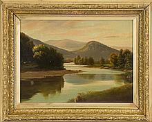 ATTRIBUTED TO BENJAMIN CHAMPNEY, American, 1817-1907, View of the Saco River., Oil on board, 9