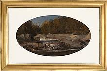 ATTRIBUTED TO BENJAMIN CHAMPNEY, American, 1817-1907, Diana's Bath., Oil, oval 10