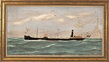 THOMAS H. WILLIS, American, 1850-1925, Portrait of the steam/sail vessel Middlesex., Oil on canvas, 19.5