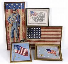 COLLECTION OF FIVE FRAMED NEEDLEWORKS All with U.S. flag motifs. One with verse. One depicts a Union soldier standing in front of a...
