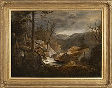 JAMES HOPE, American, 1818-1892, Bears by a waterfall., Oil on canvas, 30