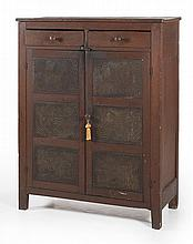 ANTIQUE AMERICAN PIE SAFE In a hardwood under old, possibly original red-wash finish. Two half-drawers over two wood-framed doors, e...