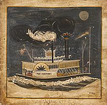 FOLK ART PAINTED PANEL Depicting the side-wheel paddle steamer The President with two men on deck beneath a full moon with smiling f...