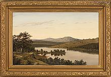 MANNER OF WILLIAM SONNTAG, American, 1822-1900, River landscape with distant mountains, Oil on canvas, 17