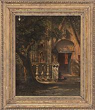 ITALIAN SCHOOL, Circa 1860, A monastery courtyard., Oil on canvas, 14