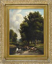 ATTRIBUTED TO WILLIAM MASON BROWN, American, 1828-1898, Cattle grazing at the water's edge., Oil on board, 24.5