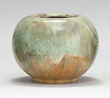 FULPER ART POTTERY BOWL In a green and tan mottled glaze. Marked on bottom. Height 5.5