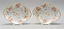 PAIR OF CROWN DERBY SERVING DISHES In fluted oval form with rust-red leaf and flower design. Red pencil mark. Length 10.7