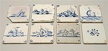 EIGHT ASSORTED BLUE AND WHITE DELFT TILES Six figural, one floral, and one with ship design. Each 5