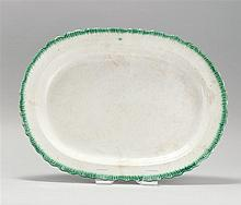 LARGE LEEDS SOFT PASTE PLATTER With green border. Length 19