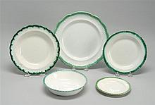 FIVE PIECES OF LEEDS SOFT PASTE Four plates and one bowl, all with green molded edges. Plate diameters from 5.75