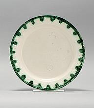 LEEDS SOFT PASTE CHOP PLATE With molded rim in green depicting trees and leaves. Diameter 13.25