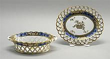 SPODE RETICULATED TRANSFERWARE BASKET WITH MATCHING UNDERTRAY Blue floral transfer with gilt highlighting. Branch-style highlighting...