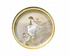 HAND-PAINTED PORCELAIN PLATE Depicting a young woman with two young boys at the coast. Signed lower right