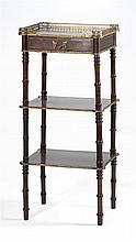BRASS-INLAID MAHOGANY THREE-TIERED STAND With one drawer and galleried top. Height 34.75
