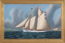 JEROME HOWES, New York/Massachusetts/Vermont, b. 1955, Schooner America passing a lighthouse., Oil on masonite, 22