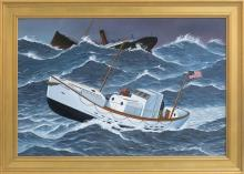 JEROME HOWES, New York/Massachusetts/Vermont, b. 1955, The rescue of the Pendleton, Oil on masonite, 20