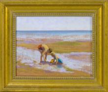 RUTH HOGAN, Massachusetts, b. 1943, Two children on the flats., Oil on canvas, 8