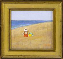 RUTH HOGAN, Massachusetts, b. 1943, Woman wearing a white hat seated on the beach., Oil on board, 5.5