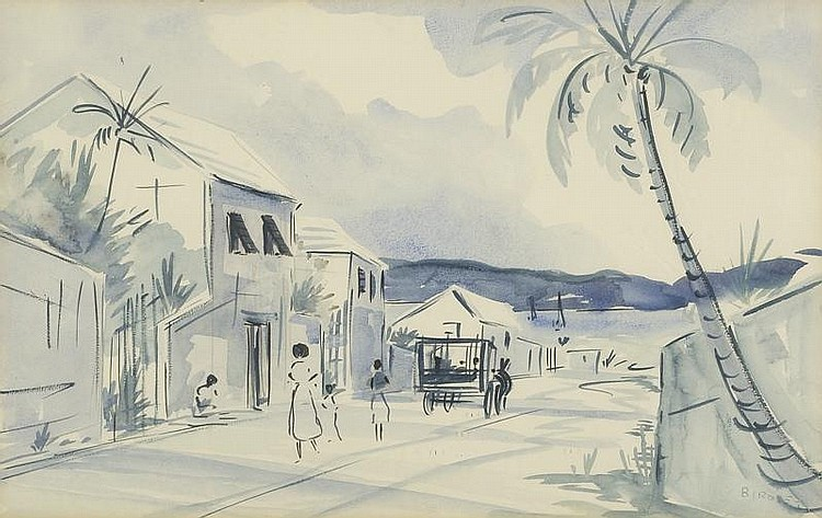 ALFRED BIRDSEY, Bermuda, 1912-1996, Seaside village street with figures and horse drawn cart., Watercolor, 12½