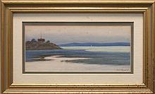 FRAMED WATERCOLOR: ARTIST UNKNOWN (20th Century). Depicting a house on a hillside with a frozen lake and mountains in the distance....