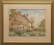 FRAMED WATERCOLOR: THOMAS E. FRANCIS (English, 1899-1912). Rural cottage with hollyhocks. Signed lower right. 10.5