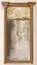 EARLY 19TH CENTURY SHERATON-STYLE TABERNACLE MIRROR with split turned columns. Églomisé panel in upper tablet depicts figures dancin...