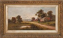 FRAMED PAINTING: CONTINENTAL SCHOOL (Late 19th Century). A figure walks down a path with thatched roof cottages. Signed illegibly lo...