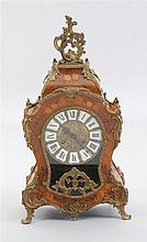 LATE 20TH CENTURY LOUIS XV-STYLE BRONZE-MOUNTED MARQUETRY MANTEL CLOCK. Works marked for Franz Hermle and Sohn, 1984. Dial with Roma...