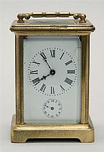FRENCH BRASS CARRIAGE CLOCK. (Late 19th/Early 20th Century). Works unmarked. Height 4.5