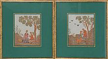 TWO FRAMED 19TH CENTURY ENGLISH BEADWORKS: Courting figures in classical landscapes. 8