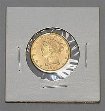 1881-S HALF EAGLE $5 GOLD PIECE. EF-40.