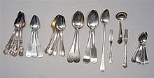 TWENTY-SEVEN PIECES OF ASSORTED AMERICAN SILVER AND SILVER PLATED FLATWARE: three monogrammed coin silver spoons marked