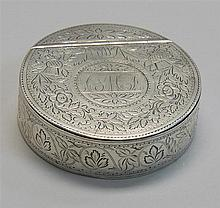 FRENCH FIRST STANDARD SILVER SNUFF BOX With finely engraved decoration of thistles, Tudor roses and shamrocks. Monogrammed