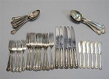 STERLING SILVER PARTIAL FLATWARE SET BY FRANK W. SMITH OF GARDNER, MASSACHUSETTS In the
