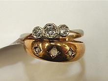 An 18ct yellow gold ring set two diamonds and one synthetic white stone, and an 18ct gold ring set t