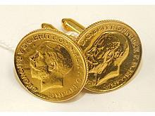 A pair of 1912 sovereign cufflinks, soldered, 23.2g.