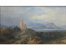 19th Century Continental School ITALIANATE LANDSCAPE Indistinctly signed oil on canvas, 29 x 50cm.